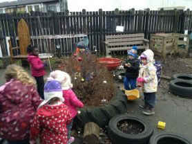 Decorating the nursery playground for Christmas!