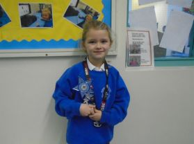 Well done to our P3 pupil for winning her amazing tophy